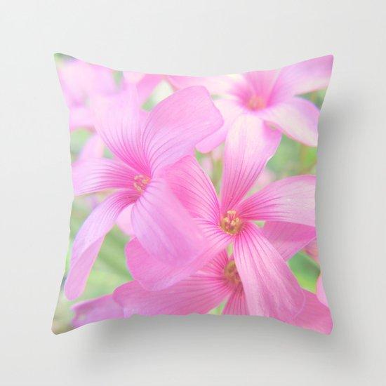 Coral Pink Petals Throw Pillow