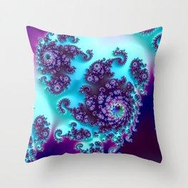 Jewel Tone Fractal Throw Pillow