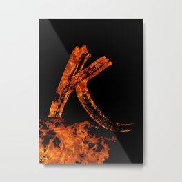 Burning on Fire Letter K Metal Print
