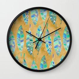 Jeweled Enamel Leaves on Tan Wall Clock