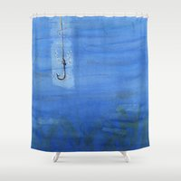 hook Shower Curtains featuring Lone Hook by Chris Cater