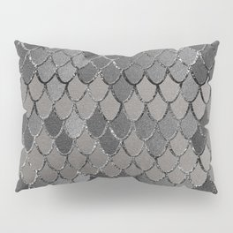 Mermaid Scales Silver Gray Glam #1 #shiny #decor #art #society6 Pillow Sham