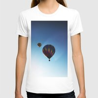 hot air balloons T-shirts featuring Rainbow Hot Air Balloons by Rachel Butler