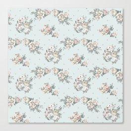 Pastel blue brown pink vintage roses polka dots pattern Canvas Print
