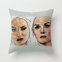 swan queen Throw Pillows featuring Swan Queen by Bernadette Woods