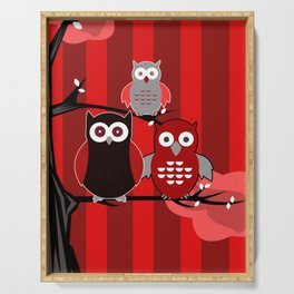 Red Owls Serving Tray
