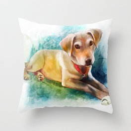 Watercolor Puppy Throw Pillow