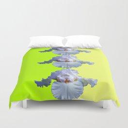 SNOW WHITE SPRING IRIS  GREEN-YELLOW  FLOWERS ART Duvet Cover
