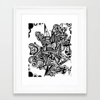 andreas preis Framed Art Prints featuring Black geometry by Andreas Handgruber by Artometrie.com