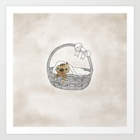 Cat in a Basket. Oh little blue eyes kitten. Art Print