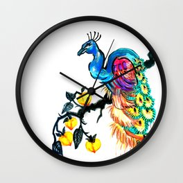 Peacock in a Peach Tree Wall Clock