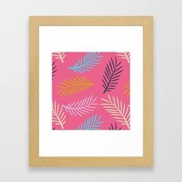 Multi-coloured palm leaf fronds on a pink background Framed Art Print