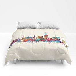 Lincoln Nebraska skyline Comforters