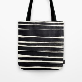 Black Paint Lines on Ivory Tote Bag