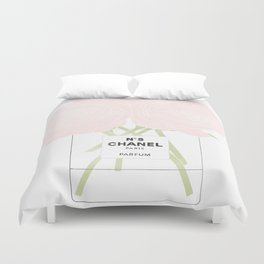 minimal no. 5 perfume with pink roses Duvet Cover