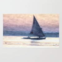 water colour Area & Throw Rugs featuring Felucca Water Colour by Brian Raggatt