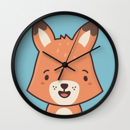 Kawaii Cute Red Fox Wall Clock