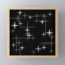 Mid Century Modern Stars (Black) Framed Mini Art Print