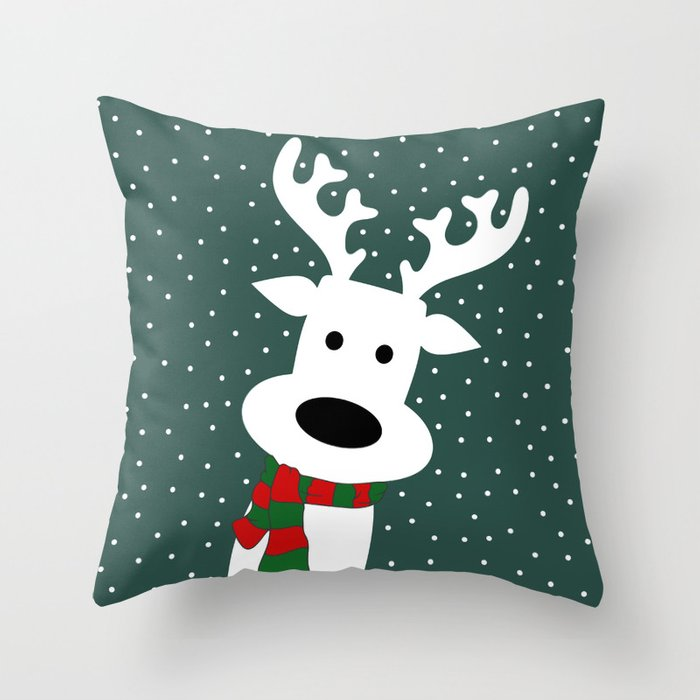 Reindeer in a snowy day (green) Throw Pillow by absentisdesigns Society6
