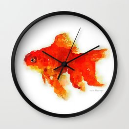 Sleeping Goldfish Watercolor Painting Wall Clock