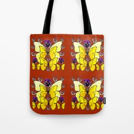 RUST COLORED YELLOW  BUTTERFLY & PANSY FLORAL Tote Bag