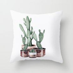 Potted Cacti Rose Gold Throw Pillow