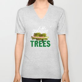 Splittin' Trees Funny Disc Golf Unisex V-Neck