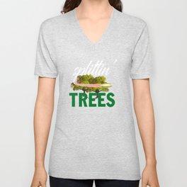 Splittin' Trees Funny Disc Golf Unisex V-Neck