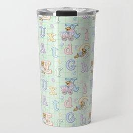 Teddy Bear Alphabet ABC's Green Travel Mug