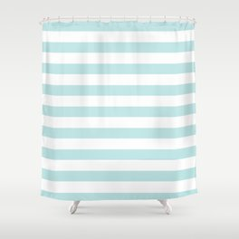 simply striped in succulent blue and white shower curtain