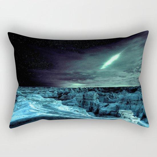 galaxy mountains teal Rectangular Pillow