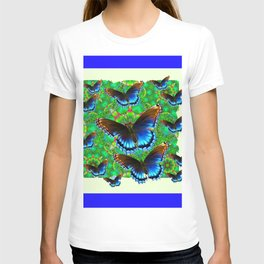BLUE-BROWN BUTTERFLY GREEN ART T-shirt
