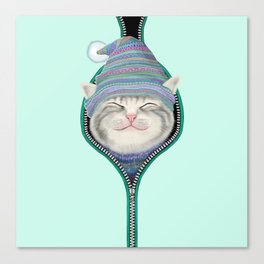 Cat in the zip Canvas Print