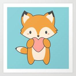 Kawaii Cute Fox With Hearts Art Print