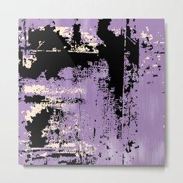 Grunge Paint Flaking Paint Dried Paint Peeling Paint Purple Black Beige Metal Print
