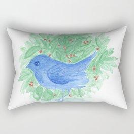 Blue bird and shrub watercolor painting Rectangular Pillow