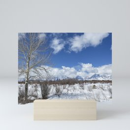 Grand Tetons from Willow Flats with a Tree Mini Art Print