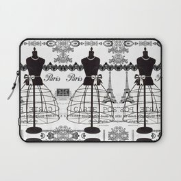 Vintage black white Paris French dress mannequin pattern Laptop Sleeve