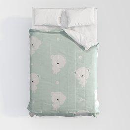 Teddy  polar bear pattern  and light blue background. Comforters