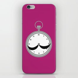 Mustache clock print iPhone Skin