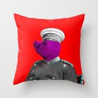 general Throw Pillows featuring General Schweinebacke by Marko Köppe