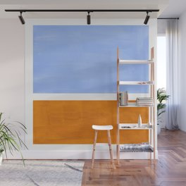 Pastel Royal Blue Yellow ochre Mid Century Modern Abstract Minimalist Rothko Color Field Squares Wall Mural