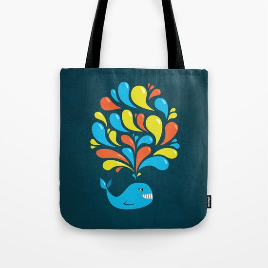 Dark Colorful Happy Cartoon Whale Tote Bag