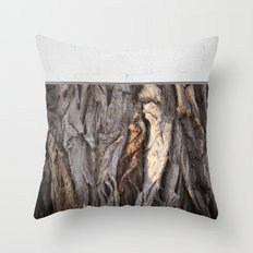 Abstract Human Figures in Gnarled Wood and White Cinder Block Throw Pillow