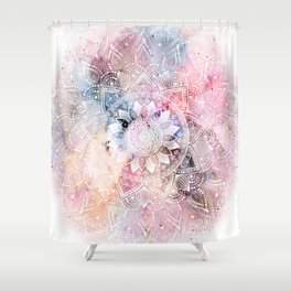 Whimsical white watercolor mandala design Shower Curtain