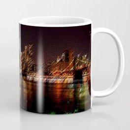 Manhattan City Lights Night Scene Landscape Painting by Jeanpaul Ferro Coffee Mug
