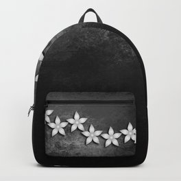 Spectacular silver flowers on black grunge texture Backpack