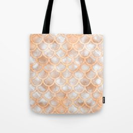 Rose Gold Marble Mermaid Scales Tote Bag