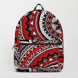 Red and Black Mandala Backpack