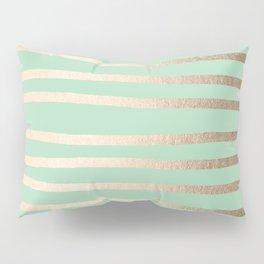 Stripes Metallic Gold Mint Green Pillow Sham